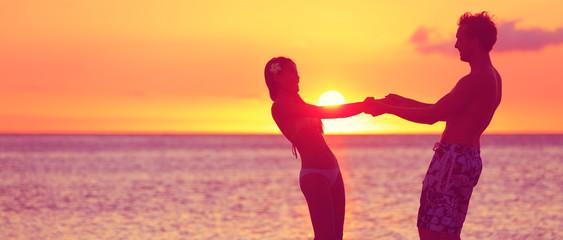 Romantic couple honeymoon travel banner on beach