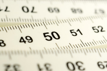 White ruler macro number fifty