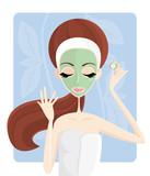 Fototapety Cura di bellezza - maschera al cetriolo