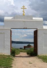 Svijazhsk, summer view of the river in the opening church gates