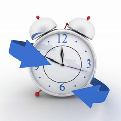 Alarm-clock with blue arrows. 3d isolated icon on white