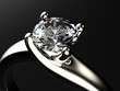 Ring with diamond isolated on gray background - 65002787