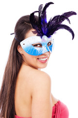 Portrait of sexy brunette woman with carnival  mask