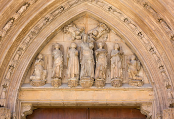 Statues Over the Palau Door of the Valencia Cathedral
