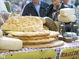 italian salt flat breads exposed on a table in a country fair