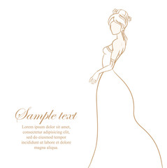 Wedding card with bride on white background isolated. Vector ill