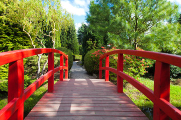 Red Bridge at the Japanese Garden
