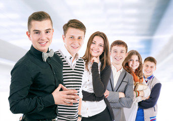 Group of positive young people