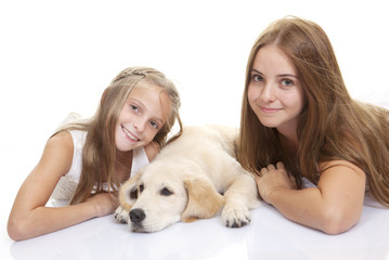 family pet dog with kids