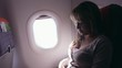 People, young woman traveling on airplane during flight crash