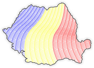 Map Romania - Rumania - Guilloche