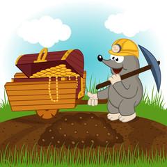 mole dug treasure - vector illustration
