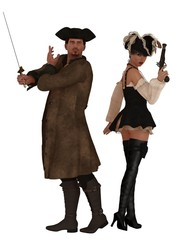 Pirate couple with weapons drawn