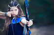 forest hunter girl with bow and arrow