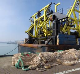 fishing trawler in harbor