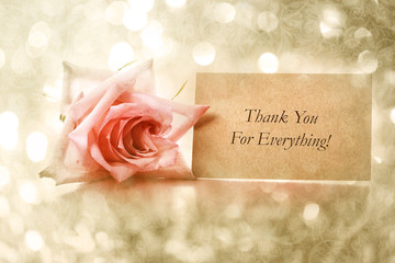 Thank you card with vintage rose