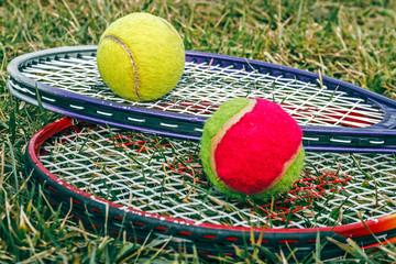 Badminton rackets and balls