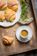 Espresso and croissant for breakfast