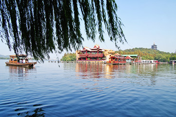 Chinese park in Hangzhou near Xihu Lake, China.