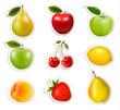 Fruit stickers. Vector.