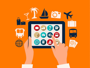 Hands touching a tablet with vacation and travel icons. Vector.
