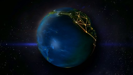 Globe Earth Shine Network Looping Animation