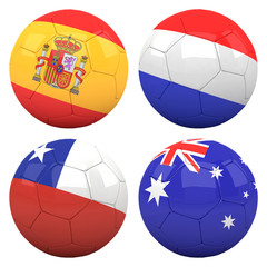 3D soccer balls with group B teams flags, Football Brazil 2014.