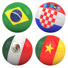 3D soccer balls with group A teams flags, Football Brazil 2014.