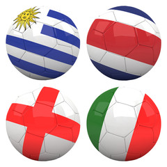 3D soccer balls with group D teams flags, Football Brazil 2014.