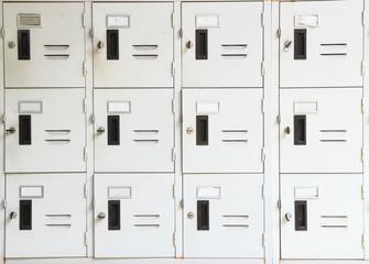 Lockers cabinets in a locker room.