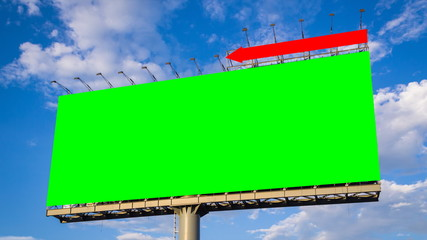 green screen big billboard and cloud float in sky time lapse