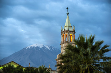 Volcano El Misti overlooks the city Arequipa in southern Peru. A