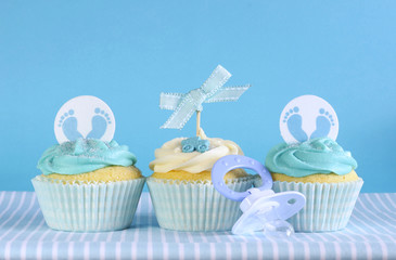 Blue theme baby boy three cupcakes