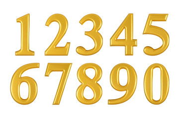 Gold wooden numbers on white background,Photograph © amenic181