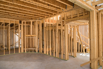New residential construction home framing interior