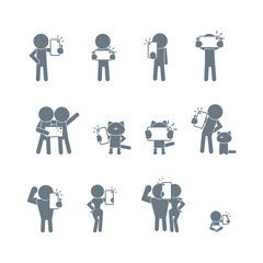 People taking a selfie. Vector icons set