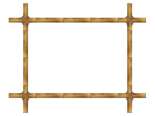 Wooden frame of old bamboo sticks. Vector illustration