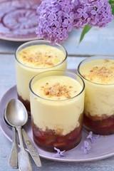 rhubarb dessert with creme anglaise