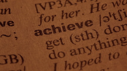 Word Achieve in a dictionary