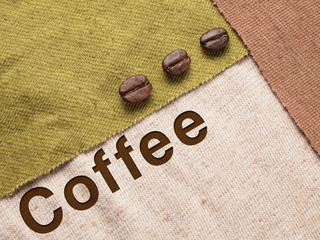 Roasted Coffee Beans on fabric textile