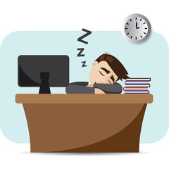 cartoon businessman sleeping on working time