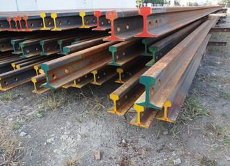 roll of corroded railway steel beams