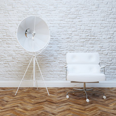 White Brick Wall Office Inteior Leather Armchair And Lighting