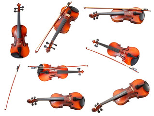 set of classical modern violins and french bows