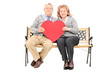 Lovely mature couple holding big red heart