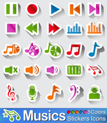Music icons and buttons