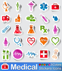 Medical stickers icons