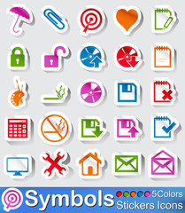 Symbols stickers icon and buttons