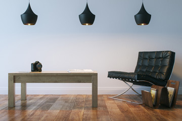 Living Or Office Interior Room With Leather Armhair And Table