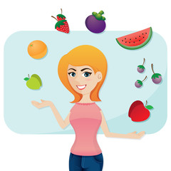 cartoon cute girl with fruits